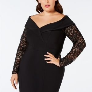 XSCAPE Lace-Sleeve Off-The-Shoulder Gown Black